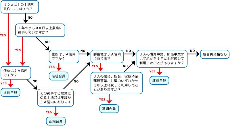組合員資格判断のフローチャートのイメージ